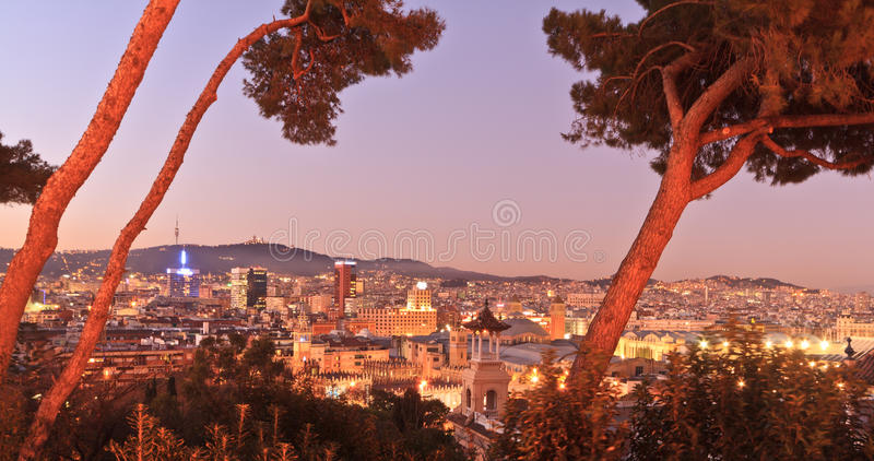 Barcelona at sunset. Cityscape of Barcelona at sunset from Poble Espanyol, Spain royalty free stock images
