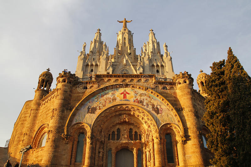 Barcelona, Temple on Tibidabo. BARCELONA, SPAIN - DECEMBER 28, 2015. Expiatory Church of the Sacred Heart of Jesus in Tibidabo, in the top of the city of royalty free stock photos