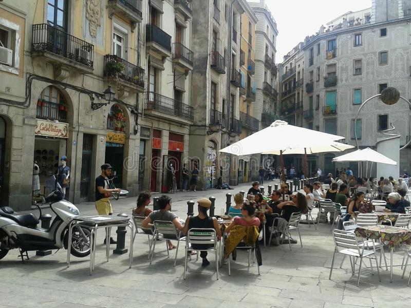 Barcelona, terrace restaurant in the Gothic quarter in public square stock photo