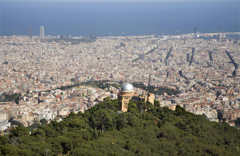 Barcelona from Tibidabo hill royalty free stock image