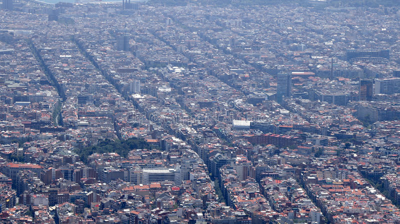 Barcelona top view. Top city view from Tibidabo, Barcelona, Catalonia, Spain, July 2016 royalty free stock photography