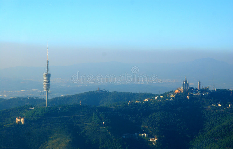 Barcelona Tower And Landscape royalty free stock photos