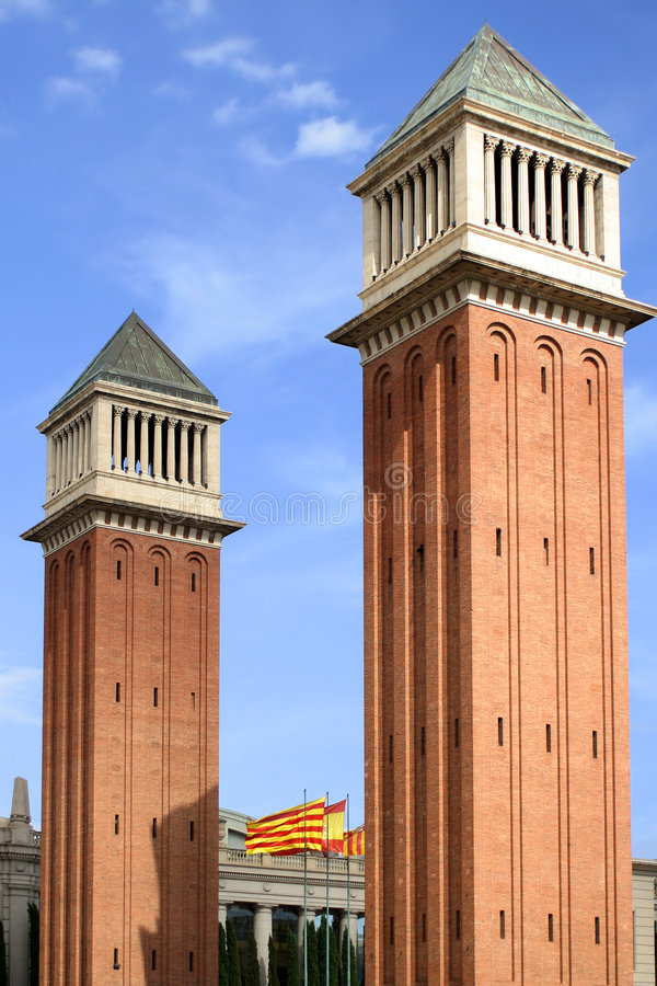 Barcelona towers stock photography