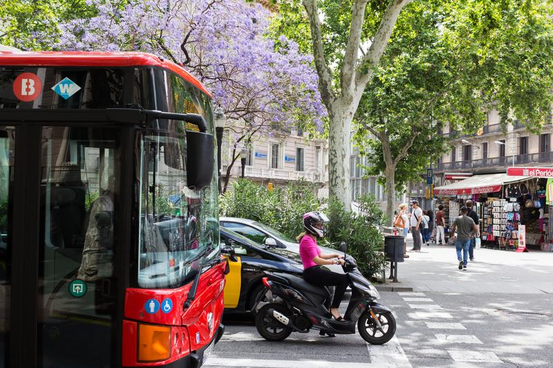 Barcelona.Traffic on the roads. royalty free stock image