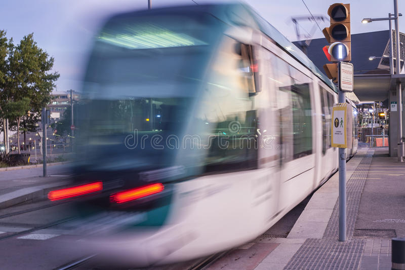 Barcelona tram at dusk. Low motion shot royalty free stock photography