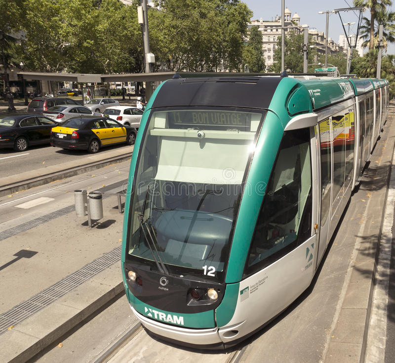Barcelona tramway. BARCELONA, SPAIN - JULY 6, 2015: Barcelona tram known as Trambaix. The tram is going through the Diagonal avenue royalty free stock photos