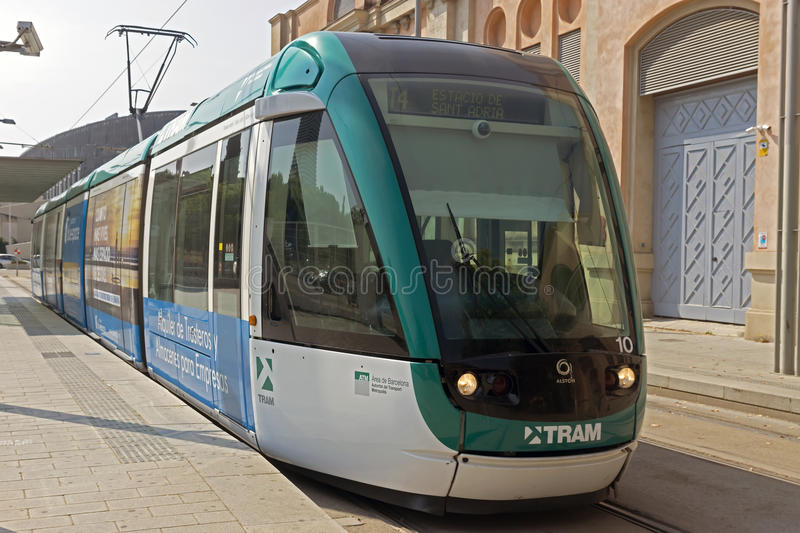 Barcelona tramway. BARCELONA, SPAIN - JULY 12, 2015: Barcelona tram known as Trambaix. The tram is going through the Diagonal avenue royalty free stock photo
