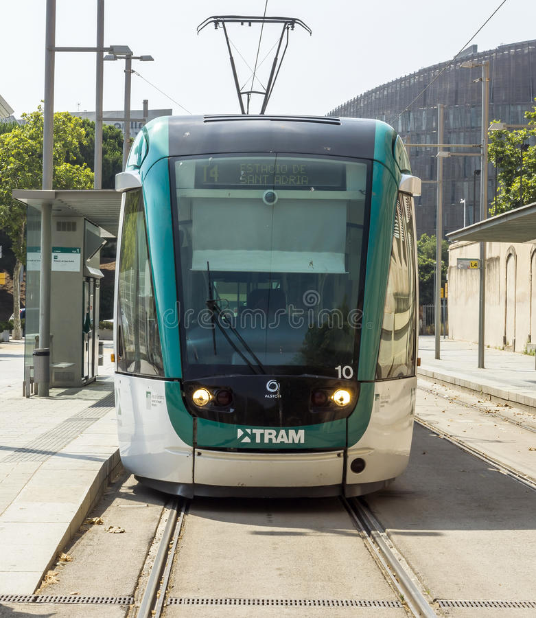 Barcelona tramway. BARCELONA, SPAIN - JULY 12, 2015: Barcelona tram known as Trambaix. The tram is going through the Diagonal avenue royalty free stock photography