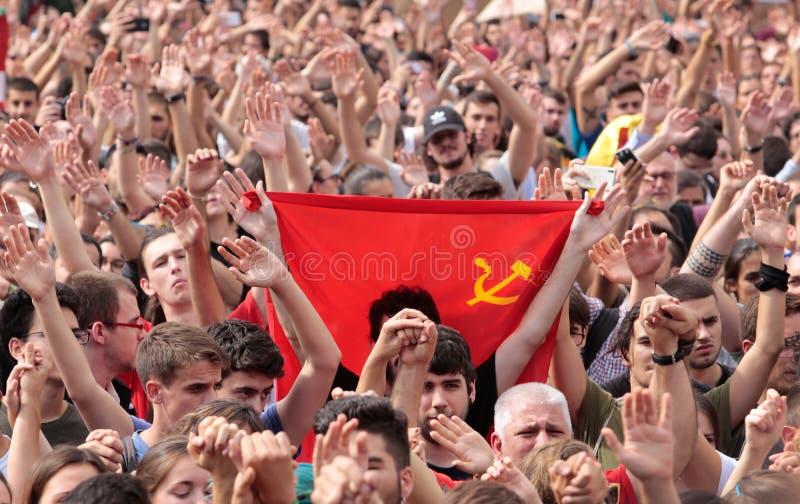 Barcelona uczni demonstraci sowieci flaga obraz stock