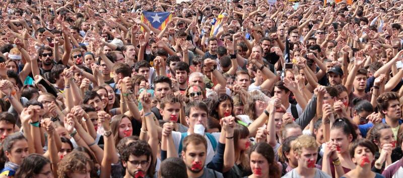 Barcelona uczni demonstracja dla niezależności fotografia stock