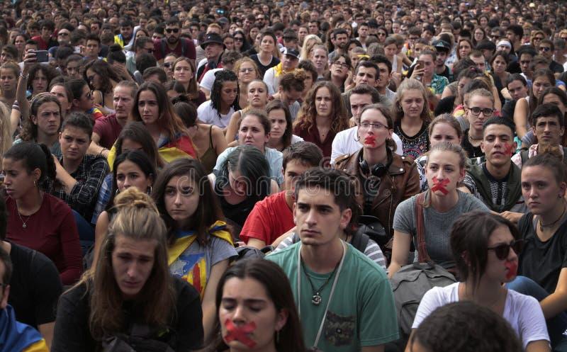 Barcelona uczni demonstracja dla niezależności szerokiej zdjęcie royalty free
