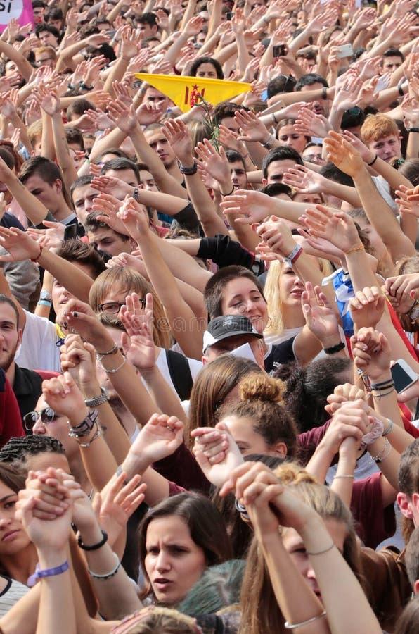 Barcelona uczni demonstracja dla niezależności vertical obraz stock