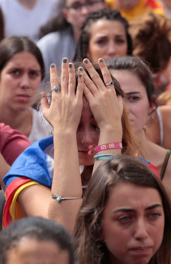 Barcelona ucznie podczas demonstraci dla niezależności szerokiej zdjęcie royalty free
