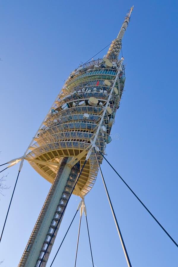 barcelona vårdar tornet arkivbilder