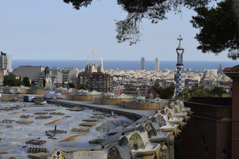 Barcelona van Park Guell stock afbeelding