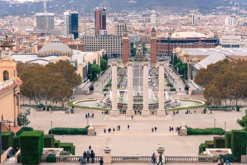 Barcelona view from Museu Nacional d`Art de Catalunya, Montjuic mountain. Spain stock image