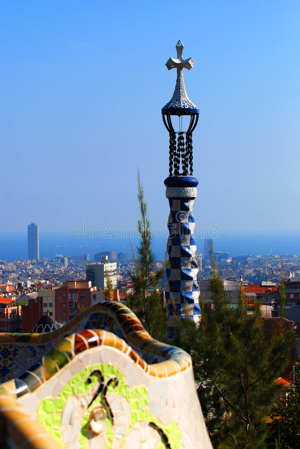 Barcelona view from Park Guell royalty free stock image