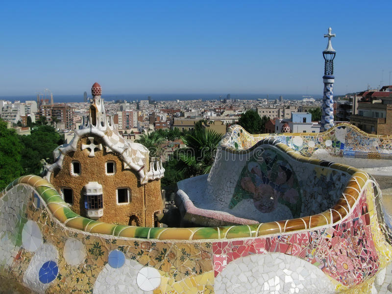 Barcelona view: Park Guell, famous park by Gaudi stock photography