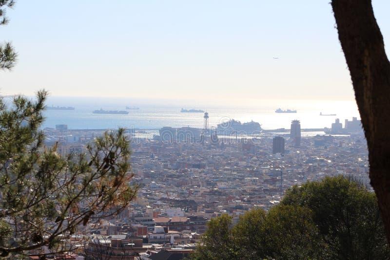 Barcelona vista de las alturas de Collserola foto de archivo libre de regalías