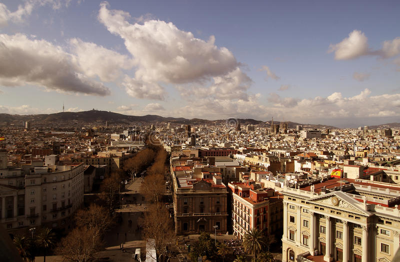 Barcelona von oben stockbilder