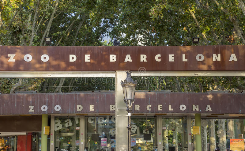 Barcelona zoo park. BARCELONA, SPAIN - JULY 11, 2016: Main entrance of Barcelona zoo, Spain. Founded in 1892 royalty free stock images