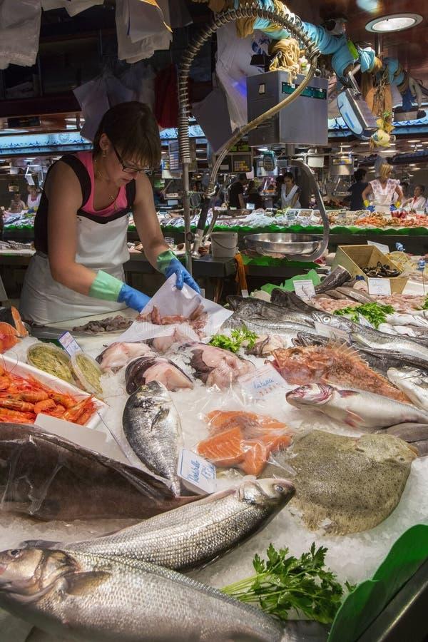 Barcelonas Famous Food Market - Spain stock photos