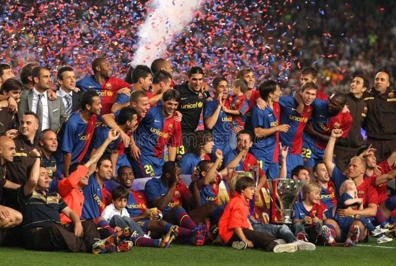 Barcelone célèbrent l'équipe de liga de La de fc photos libres de droits