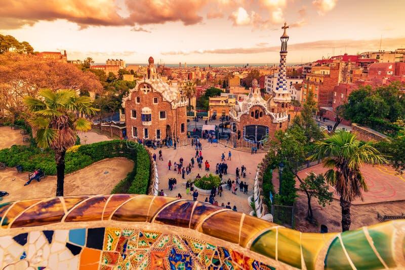 Barcelone, Catalogne, Espagne : le parc Guell d'Antoni Gaudi photos libres de droits