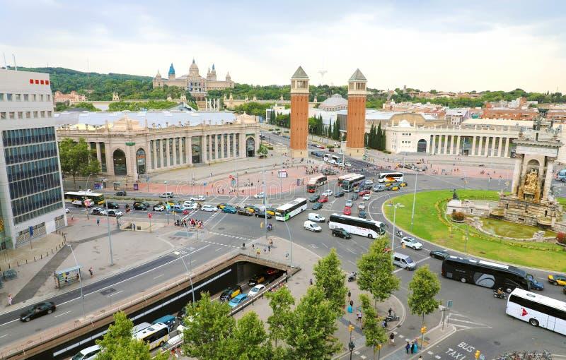 BARCELONE, ESPAGNE - 13 JUILLET 2018 : vue aérienne de ` Espanya de Placa d image libre de droits