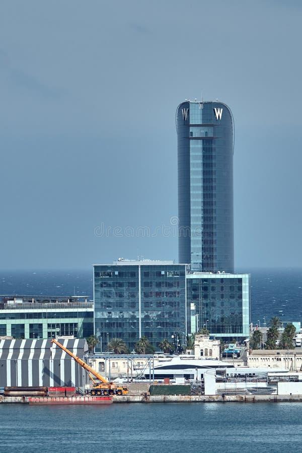 Barcelone, Espagne - mai, 27 2018 : L'hôtel de W Barcelone, connu sous le nom d'hôtel de voile de voiles d'hôtel conçu par Ricard photo stock
