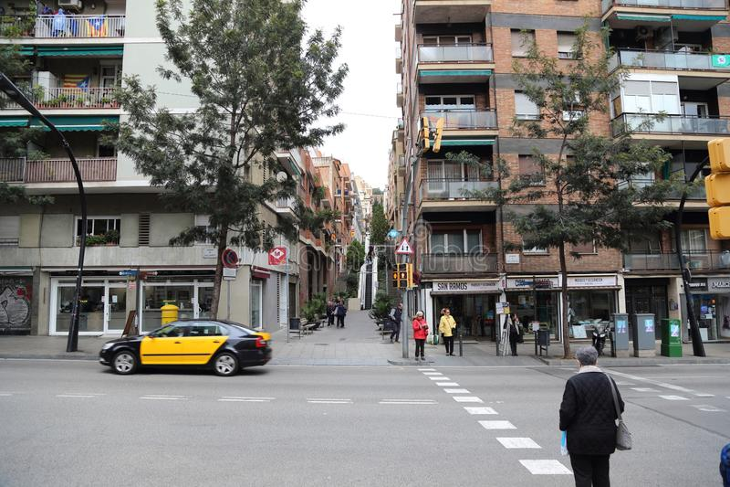 Barcelone, Espagne - 8 novembre 2017 : Rue de Barcelone, paysage de route de Catalunya, Espagne Barcelo photo libre de droits