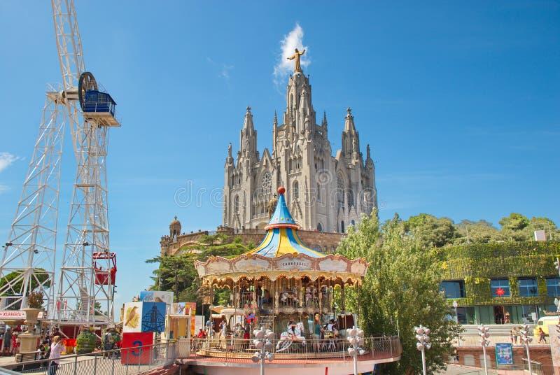 Barcelone, Espagne - 14 08 2019 : Parc d'attraction sur le mont Tibidabo photo stock
