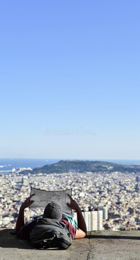 Barcelone, Espagne, vue du haut d'une colline photo stock