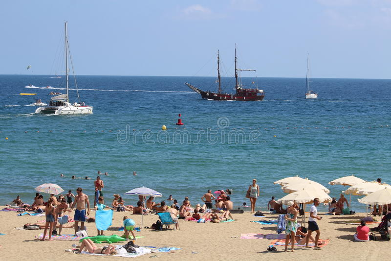 Barceloneta海滩西班牙 免版税库存图片