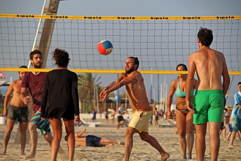 Barceloneta海滩齐射 库存图片