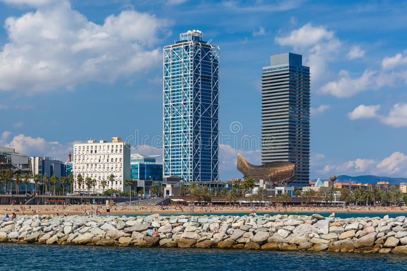 Barceloneta beach in Barcelona, Catalonia, Spain royalty free stock images