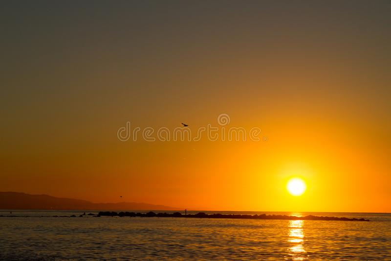 Barcelona sunrise stock image