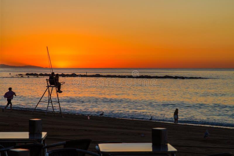 Barcelona sunrise royalty free stock image