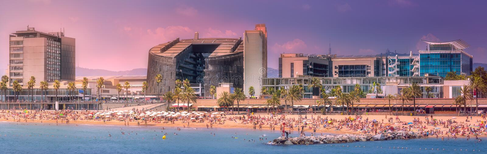 Barceloneta Beach in Barcelona at purple sunset royalty free stock photo