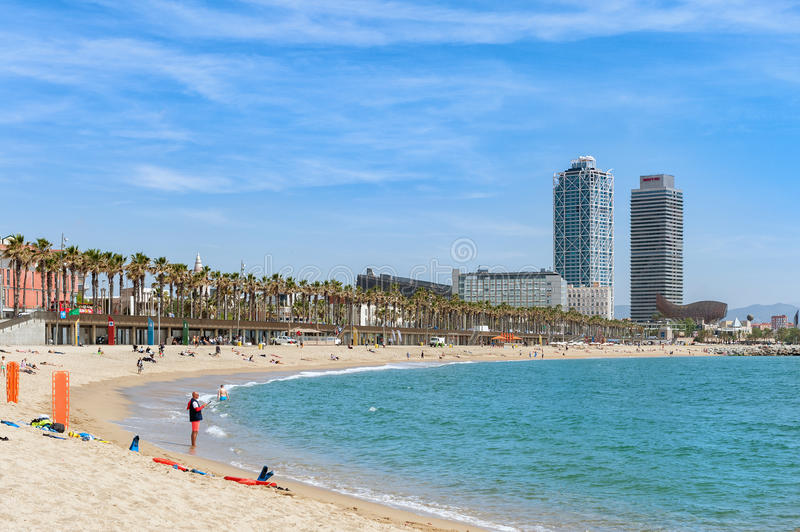 Barceloneta beach in Center of Barcelona, Catalonia, Spain stock images