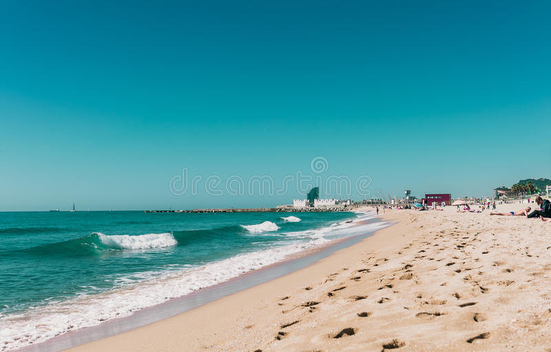 Barceloneta beach in Center of Barcelona, Catalonia, Spain royalty free stock photos