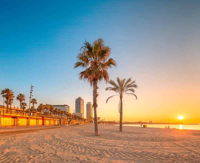 Barceloneta strand i Barcelona på soluppgång arkivbild