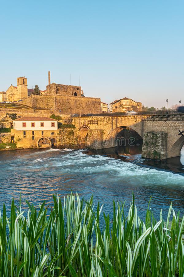 BARCELOS, PORTUGAL - CIRCA JAUARY 2019: View of Barcelos city with Cavado river in Portugal. It is one of the growing. Municipalities in the country royalty free stock images