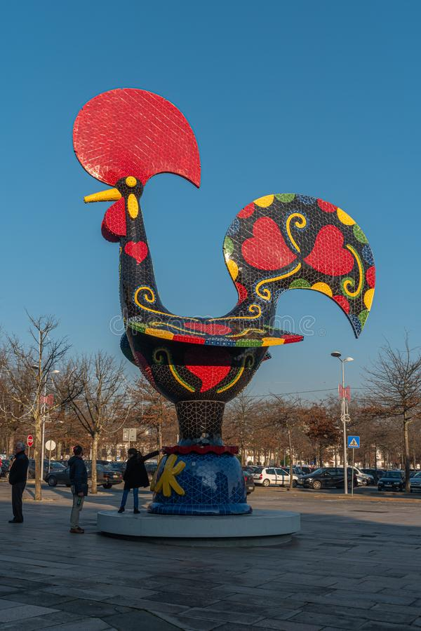 BARCELOS, PORTUGAL - CIRCA JAUARY 2019: View at the Pop Galo at night, public art inspired in the Barcelos cock, cosidered one of. The most important symbols of royalty free stock photos