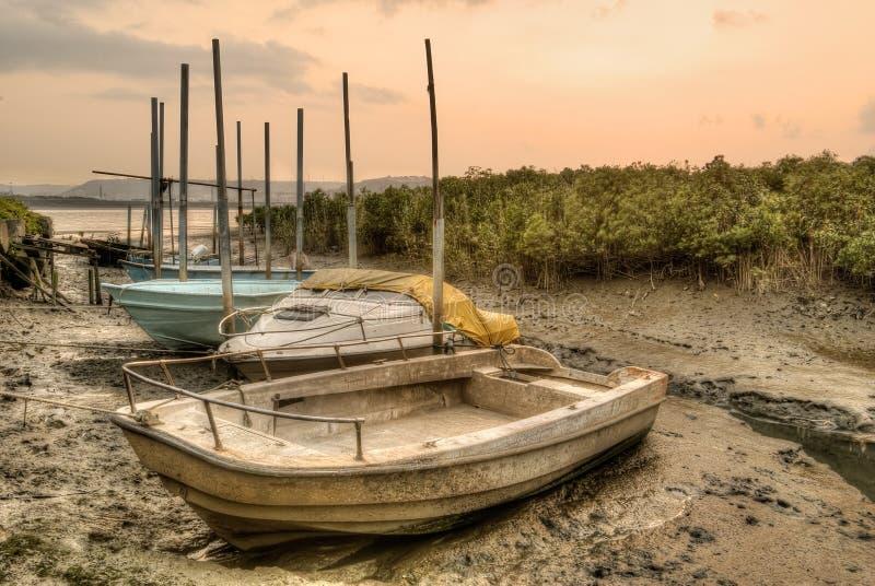 Barche abbandonate immagine stock