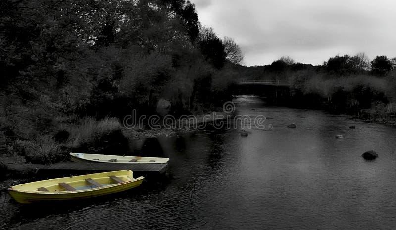 Barche abbandonate in un fiume fotografie stock