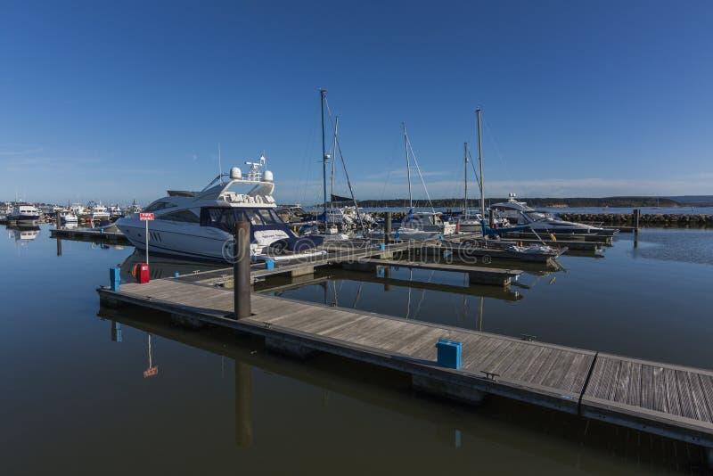 Barche attraccate in Poole Quay immagini stock libere da diritti