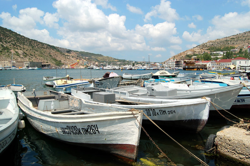 Barche in Balaklava fotografie stock libere da diritti