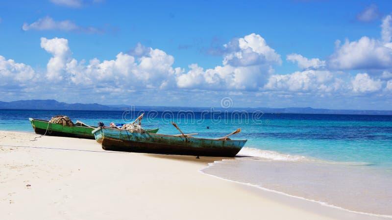 Barche in Cayo Levantado Repubblica dominicana fotografia stock libera da diritti