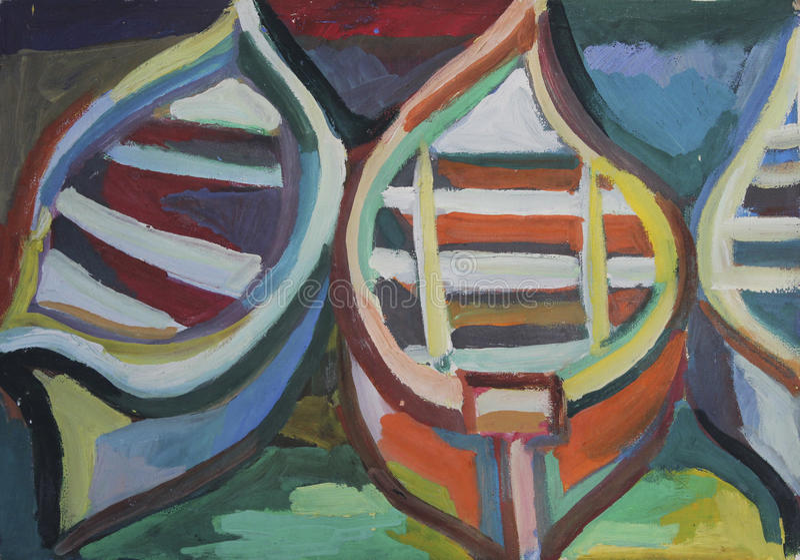 Barche della pittura a olio royalty illustrazione gratis